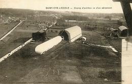 St Cyr L'ecole - Aviation - Champ D'aviation Vu D'en Aéroplane - Ballon Dirigeable Zeppelin - Belle Animation - St. Cyr L'Ecole