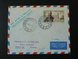 Lettre Premier Vol First Flight Cover Liaison Aérienne Brazzaville Paris Par Avion à Réaction AEF 1953 - Brieven En Documenten