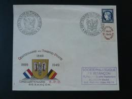 Lettre Avec Ceres Non Dentelé Centenaire Du Timbre Poste Besancon 25 Doubs 1949 - Storia Postale