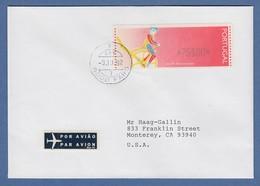Portugal 1992 ATM Ciclista Mi.-Nr. 6 Wert 75$00 Auf FDC In Die USA , O FARO - Vignette Di Affrancatura (ATM/Frama)