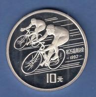 VR China 1990 Silbermünze 10 Yuan Olympische Spiele Barcelona 1992 Radfahrer - Chine