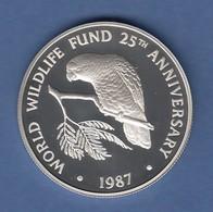 WWF Silber-Gedenkmünze Cayman Islands 1987, Amazonas-Papagei 5 $, 28g Ag925, PP  - Monnaies & Billets