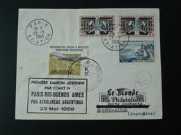 Lettre Premier Vol First Flight Cover Paris Alger Buenos Aires Argentina Par Comet IV Aerolinas 1959 - Poststempel (Briefe)