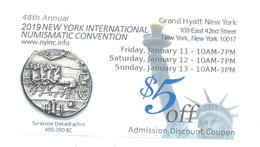 BON COUPON NEW YORK INTERNATIONAL NUMISMATIC CONVENTION 5 USD - Etats-Unis