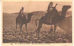POSTAL   -SCENES ET TYPES -MEHARISTES TRAVERSANT LES DUNES - Postales