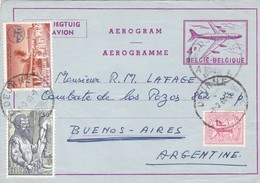 AEROGRAMME CIRCULEE BELGIQUE A L'ARGENTINE AN 1964 MIXED STAMPS FULL CONTENT INSIDE -BLEUP - Stamped Stationery