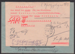 JENA AFS CARL ZEISS 28.1.44 N. Hamburg 2.2.44, Irrlläufer-Aukleber Nicht Stadtinspektor, Sondern Polizeipräsidium, - Duitsland