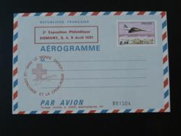 Entier Postal Aerogramme Le Concorde Et La Croix Rouge Red Cross 95 Domont Val D'Oise 1981 (neuf) - Rode Kruis