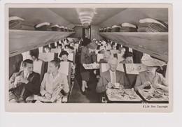 Vintage Rppc KLM K.L.M Royal Dutch Airlines Douglas Dc-4 Cabine With Stewardess - 1919-1938: Between Wars