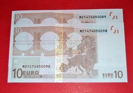 2x 10 EURO PORTUGAL U003I2 -PAREJA RADAR - M21474050089 / M21474050098 Perfect UNC - EURO