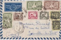 Lettre Indochine à France - Cachet Saïgon RP - Par Avion (nombreux Timbres) - Covers & Documents
