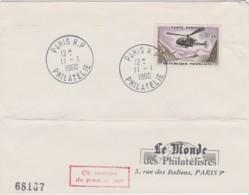 Enveloppe Avec Cachet PARIS PHILATELIE - 11/01/1960 - Premier Jour - Le Monde Des Philatélistes - Poststempel (Briefe)