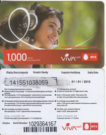 ARMENIA - Girl, VIVA/MTS Prepaid Card 1000 AMD(small Barcode), Exp. Date 01/01/15, Used - Armenien