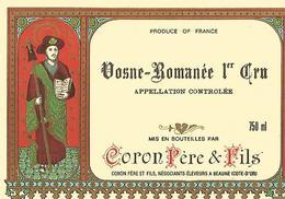 Etiquette Vosne Romanée 1 Er Cru Coron Pere Et Fils - Bourgogne