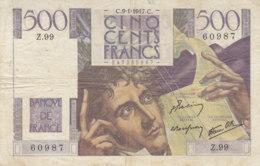 Billet 500 F Chateaubriand Du 9-1-1947 FAY 34.07 Alph. Z.99 - 1871-1952 Gedurende De XXste In Omloop