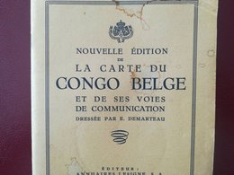 VIEILLE CARTE CONGO BELGE ET DE SES VOIES DE COMMUNICATIONS NOMBREUSES PUBLICITÉS AMATO FRÈRES  ETC. COLONIE BELGIQUE - Mappe