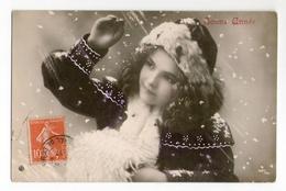 Jolie Fillette, Ellen, Sous La Neige, Bonne Année, Bonnet Et Manchon De Fourrure, Ajoutis De Peinture, 1907, N° 1267/68 - Ritratti