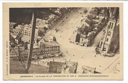 1946- CPA DE BERGERAC PLACE DE LA PREFECTURE ET LES GRANDS MAGASIN DURAND BARJEAUD -CPA BIEN TIMBREE VOIR 2 SCANS - Bergerac