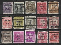 USA 15 Different Precancels - Precancels