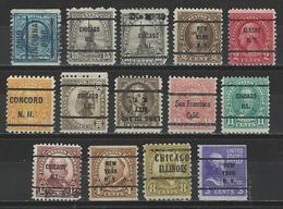 USA 14 Different Precancels - Precancels