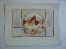 ALMANACH 1870  CALENDRIER  Lithographie  Allégorie Le Baiser Du Papillon  Médaillon Enfants Papillons Et Fleurs - Calendriers