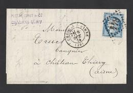N°60 Cérès Sur Lettre De Chalons Sur Marne 8/10/1874 GC 844 Vers Château Thierry - Poststempel (Briefe)
