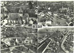 CPSM AERIENNE MULTI-VUES DE BESSAY  (ALLIER)  L'EGLISE. LA PLACE. LE GROUPE SCOLAIRE. ROUTE DE MOULINS - Other Municipalities