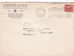 LABORATOIRE NATIVELLE. ENVELOPPE CIRCULEE FRANCE TO L'ARGENTINE AN 1939 -BLEUP - France