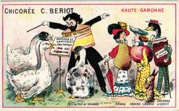 2 Trade Cards - ANTHROPOMORPHIC Goose Pear Apple Pumpkion Ram Sheep Duck Goose Rabbit Acting As Humans, Veggie People - Trade Cards