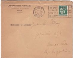 LABORATOIRE MONTAGU. LE CHALCOGRAPHIE DU MUSEE... ENVELOPPE CIRCULEE FRANCE TO L'ARGENTINE AN 1935 -BLEUP - Frankreich