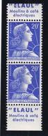 PUBLICITE: MARIANNE DE MULLER 20F BLEU BANDE VERTICALE ELAUL-ELAUL ACCP 1317-1316** - Advertising