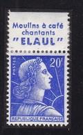 PUBLICITE: MARIANNE DE MULLER 20F BLEU  ELAUL-moulins à Café Chantants ACCP 1318* - Advertising