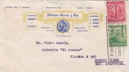 """VALENTIN GARCIA Y CIA. ENVELOPE CIRCULATED CUBA TO ARGENTINE, """"FINLAY LIBERO AL MUNDO DE LA FIEBRE AMARILLA"""".... - BLEUP - Cuba"""