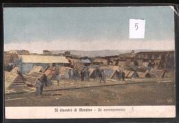 MESSINA - TERREMOTO DEL 1908 - UN ACCAMPAMENTO CON MILITARI - ACQUERELLATA (5) - Catastrofi