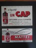 BUVARD - CAP?CORSE - UN CAP QUINQUINA L.N. MATTEI - LOT DE 2 BUVARDS DIFFERENTS - Buvards, Protège-cahiers Illustrés