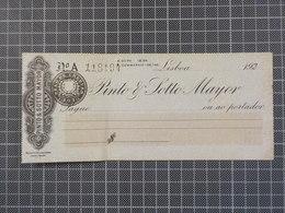 Cx6) Portugal Cheque 1920's Banco Pinto & Sotto Mayor Lisboa - Chèques & Chèques De Voyage