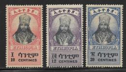 Ethiopia Scott # 252-4 Mint Hinged Selassie, 1942 - Ethiopia