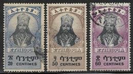 Ethiopia Scott # 254,256-7 Used Selassie, 1942-3 - Ethiopia
