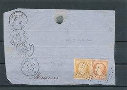 N°16 + 13 SUR DEVANT DE LETTRE OBLITÉRATION ANCRE - 1853-1860 Napoleon III