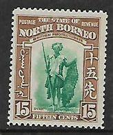 North Borneo, 1939, 15 Cents, MH * - North Borneo (...-1963)