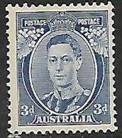 Australia, 1937/8, 3d Blue, Die II, MNH* *, Gum Tone To Perfs - 1937-52 George VI