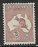 Australia, Kangaroo, 1935, 2/= Maroon, CofA Wmk, MH * - 1913-48 Kangaroos