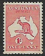 Australia, Kangaroo, 1913, 1d,   MH *, Gum Tone - Mint Stamps