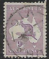 Australia, Kangaroo, 1929, 9d Violet, Wmk7, Used, Ragged Perfs At Top - 1913-48 Kangaroos
