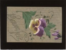 Bonne Fête Carte Peinte Sur Cellulo Fleur Pensée - Cartes Postales