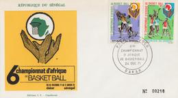 Enveloppe  FDC  1er  Jour   SENEGAL   6éme  Championnat  D' Afrique  De   Basket Ball    DAKAR   1963 - Pallacanestro