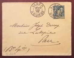 S129 Alger Bourse Algérie Sage 15c 29/12/1900 Vers Pau France Lettre - Poststempel (Briefe)