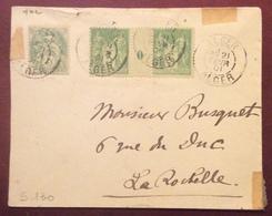 S130 Alger Alger Algérie Sage Millésime 0 + Blanc 5c Vers La Rochelle 21/2/1901 France Lettre - 1877-1920: Période Semi Moderne
