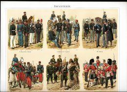 Militaire Militaria Uniformes Infanterie - Véritable Chromolithographie Fin XIXème - Illustration De R. Knotel - Divise