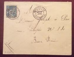 S131 Constantine Constantine Algérie Sage 15c Vers Pau France 6/7/1889 (sans Année Au Recto)Lettre - Poststempel (Briefe)